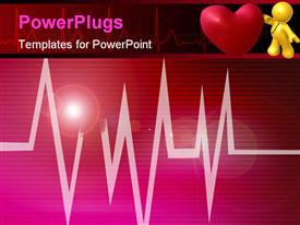 PowerPoint template displaying 3D yellow figure with stethoscope on red heart, heartbeat line