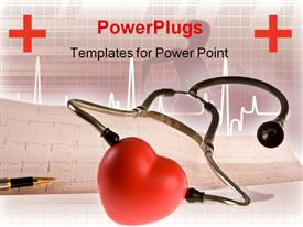 PowerPoint template displaying stethoscope pen and heart lying on a cardiogram in the background.
