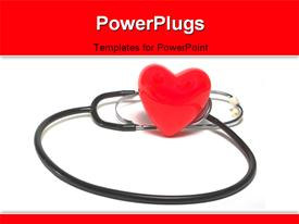 PowerPoint template displaying red heart symbols sitting beside stethoscope on white background