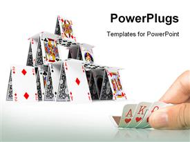 PowerPoint template displaying card house on a white background 3D depiction