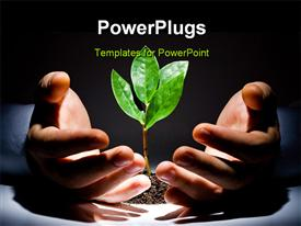 PowerPoint template displaying green plant between male hands on a black background