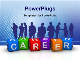 PowerPoint template displaying silhouette of people with colored tiles forming word CAREER