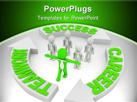 PowerPoint template displaying green figure with arms out leads group of white figures in neck ties
