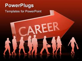 PowerPoint template displaying red arrow with career text and reflection