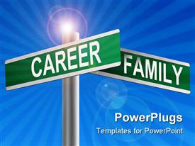PowerPoint template displaying depiction of a set of corner street signs, one labeled career and the other family
