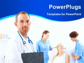 PowerPoint template displaying medical doctor with two female nurses attend to patient on sick bed