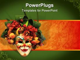 PowerPoint template displaying beautiful carnival mask composition from Venice Italy