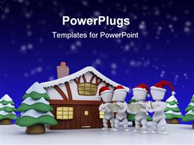 Carol singers at a winter cabin powerpoint template
