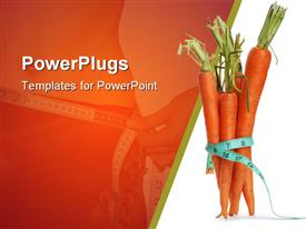 PowerPoint template displaying tape measure wrapped around bunch of carrots