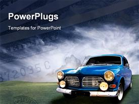 PowerPoint template displaying dollar bills with blue vintage car on green surface