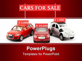 PowerPoint template displaying three toy cars and three signs with their prices in dollars at a simulated car sale in the background.