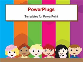 PowerPoint template displaying a cartoon theme of six kids standing in front of a colorful board