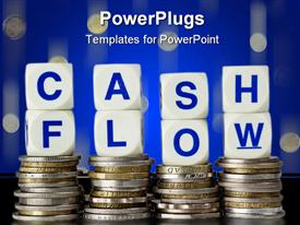 PowerPoint template displaying four stacks of coins with CASH FLOW text in dies