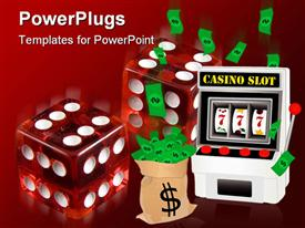 PowerPoint template displaying casino depiction with slot machine and money