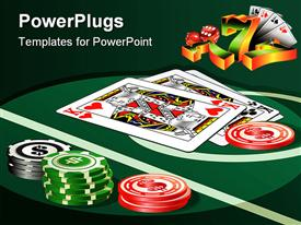 Casino table with chips and playing cards powerpoint template