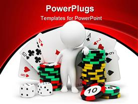 PowerPoint template displaying small people with counters for a roulette playing cards and bones