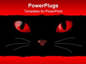 PowerPoint template displaying the devil cat eyes glowing along with the upper and lower space filled with red color