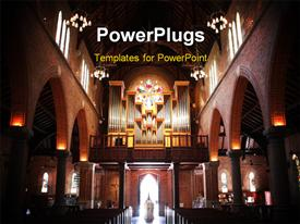 PowerPoint template displaying a beautiful church with a number of lights