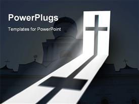 PowerPoint template displaying big catholic church with a cross and a ray of light o it