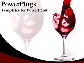 PowerPoint template displaying start celebration with red wine glass
