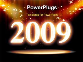 PowerPoint template displaying new year depiction with sparkling stars on black background
