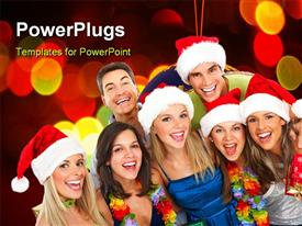 PowerPoint template displaying happy funny people. Christmas. Party in the background.