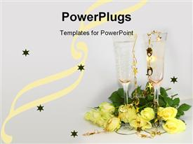 PowerPoint template displaying pair champagne glasses surrounded by yellow rose bouquet
