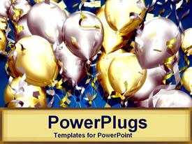 PowerPoint template displaying lots of balloons and confetti for celebration party on tan background