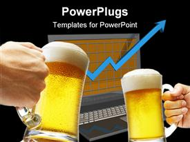 PowerPoint template displaying beer toasting in front of monitor showing success