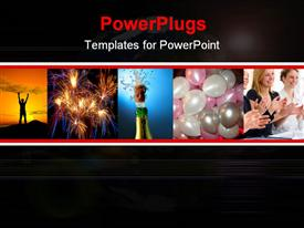 PowerPoint template displaying celebration, success metaphor with champagne bottle, applause, fireworks