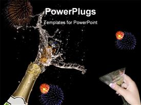 PowerPoint template displaying close-up of explosion of champagne bottle cork with fireworks bursts in backgrounds