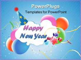 PowerPoint template displaying white cloud reading Happy New Year wearing blue party hat with multicolored stars and balloons against blue background