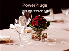 PowerPoint template displaying dark red rose arrangement on dinner table