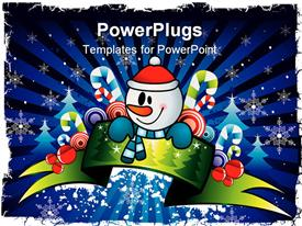 PowerPoint template displaying abstract drawing of a snow man with candy in a celebration mood