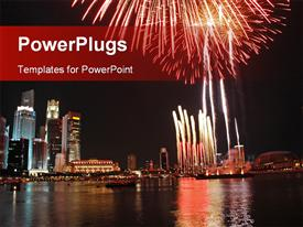 PowerPoint template displaying a landscape view of a city with fireworks and the sea