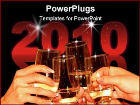 PowerPoint template displaying four glasses full with champagne on a celebration