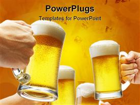 PowerPoint template displaying four hands holding beers making a toast