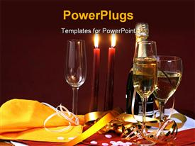 PowerPoint template displaying holiday depiction with burning candles wine bottle and glasses