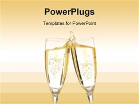 PowerPoint template displaying pair of champagne flutes making a toast. champagne splash