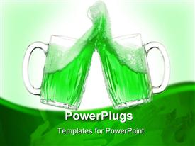 PowerPoint template displaying pair of green beer glasses making a toast. St. Patrick's Day beer splash