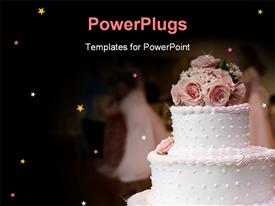 PowerPoint template displaying pink and white cake with roses on top and people in the background dancing in the background.