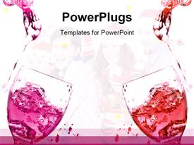 PowerPoint template displaying red and pink soft drink is being poured in the background.