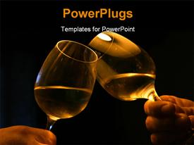 PowerPoint template displaying two male hands with two glasses with white wine in the background.