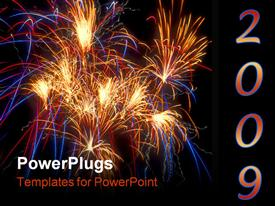 PowerPoint template displaying several bursts of fireworks