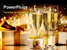 PowerPoint template displaying glasses of champagne with gold rib boned gifts in the background.