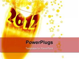 PowerPoint template displaying cup in 2012 held that explodes into stars and bubbles