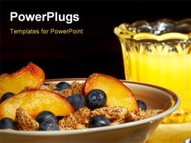 PowerPoint template displaying healthy breakfast of cereal with blueberries and nectarine slices and orange juice in the background.