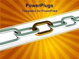 Individuality. Steel chain with golden link . 3D render powerpoint template