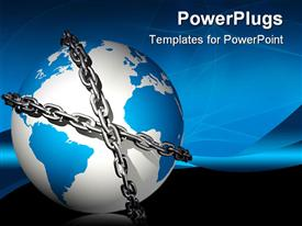 PowerPoint template displaying blue and white colored earth globe bound in chains
