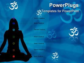 Girl meditating on blue background  buddhism presentation background